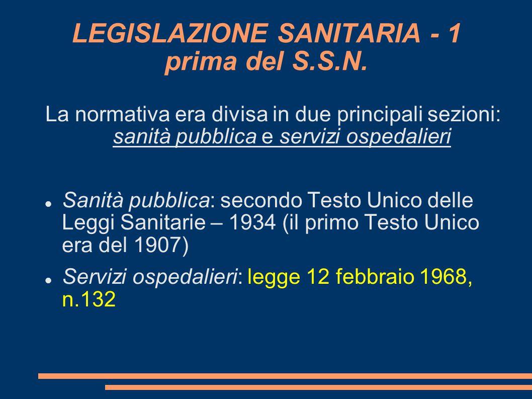 LEGISLAZIONE SANITARIA - 1 prima del S.S.N. La normativa era divisa in due principali sezioni: sanità pubblica e servizi ospedalieri Sanità pubblica: