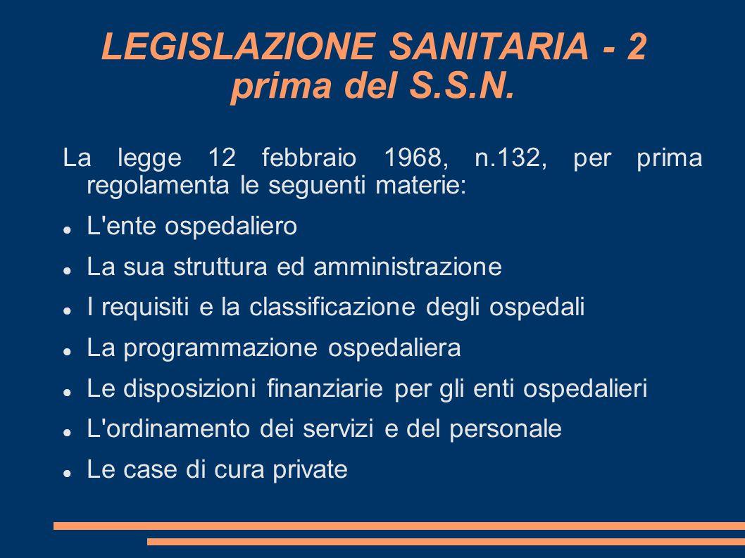 LEGISLAZIONE SANITARIA - 2 prima del S.S.N. La legge 12 febbraio 1968, n.132, per prima regolamenta le seguenti materie: L'ente ospedaliero La sua str