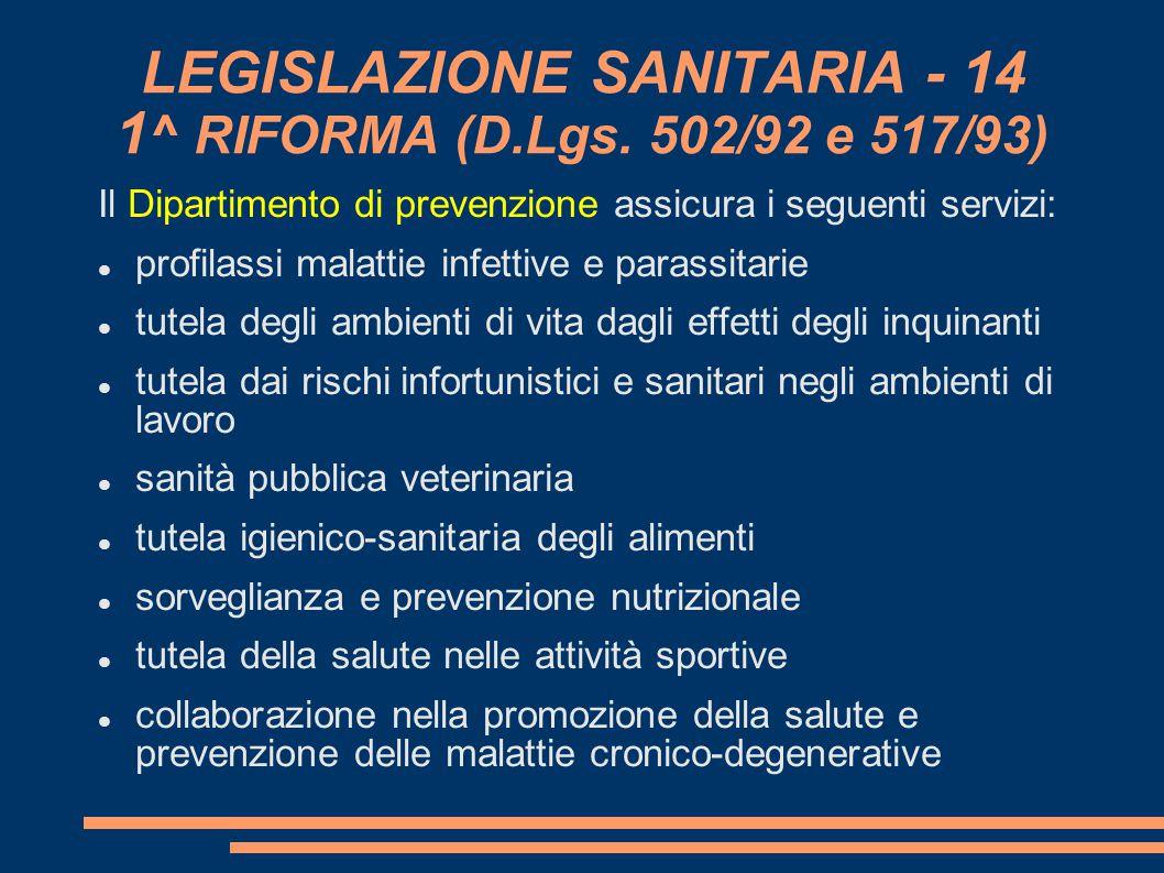 LEGISLAZIONE SANITARIA - 14 1 ^ RIFORMA (D.Lgs. 502/92 e 517/93) Il Dipartimento di prevenzione assicura i seguenti servizi: profilassi malattie infe