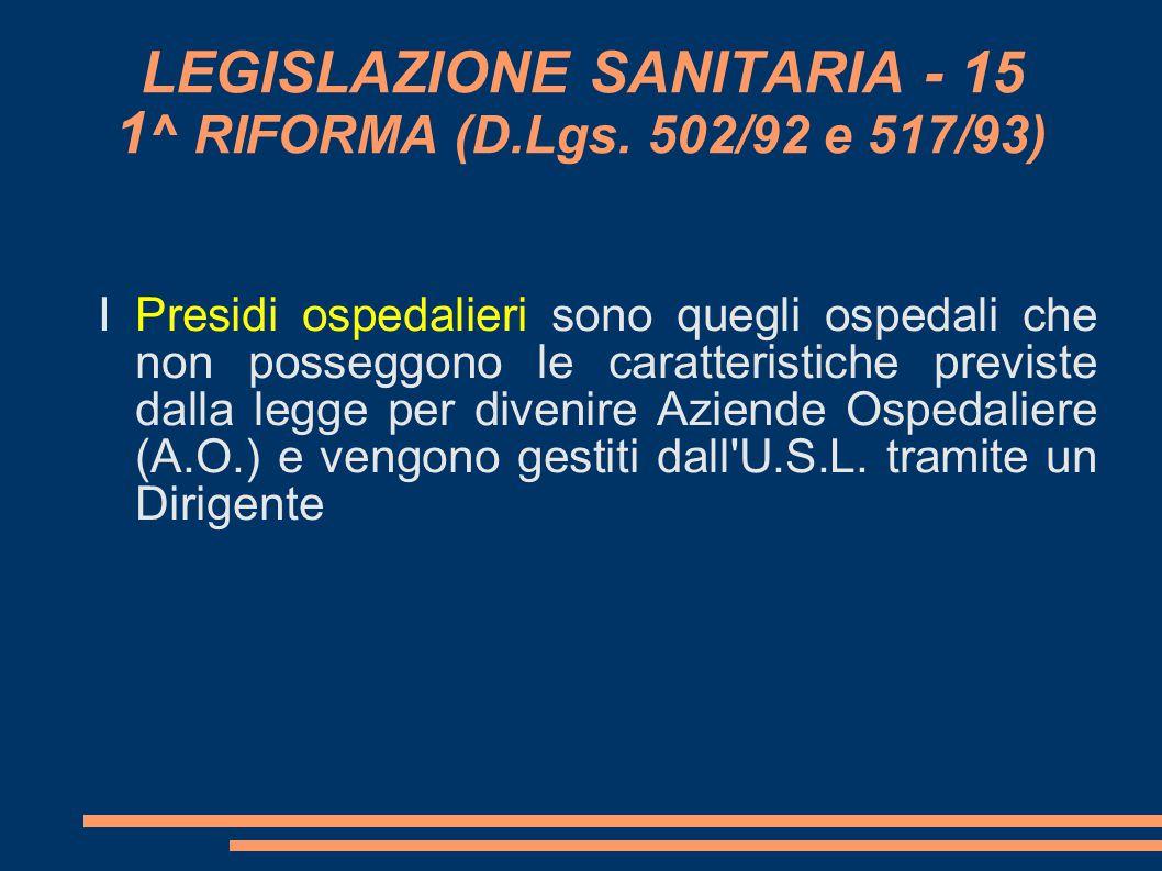 LEGISLAZIONE SANITARIA - 15 1 ^ RIFORMA (D.Lgs. 502/92 e 517/93) I Presidi ospedalieri sono quegli ospedali che non posseggono le caratteristiche pre