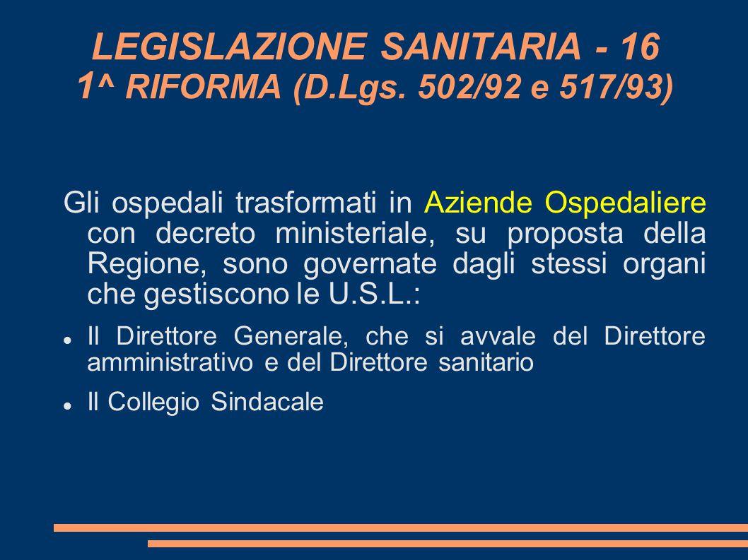 LEGISLAZIONE SANITARIA - 16 1 ^ RIFORMA (D.Lgs. 502/92 e 517/93) Gli ospedali trasformati in Aziende Ospedaliere con decreto ministeriale, su propost