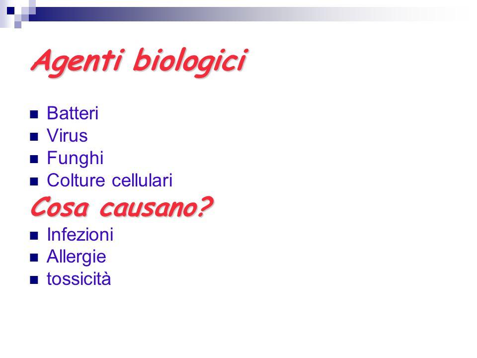 Agenti biologici Batteri Virus Funghi Colture cellulari Cosa causano? Infezioni Allergie tossicità