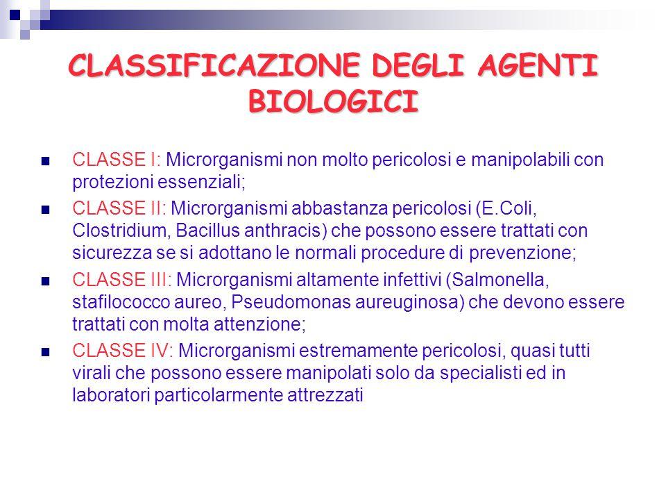 CLASSIFICAZIONE DEGLI AGENTI BIOLOGICI CLASSE I: Microrganismi non molto pericolosi e manipolabili con protezioni essenziali; CLASSE II: Microrganismi