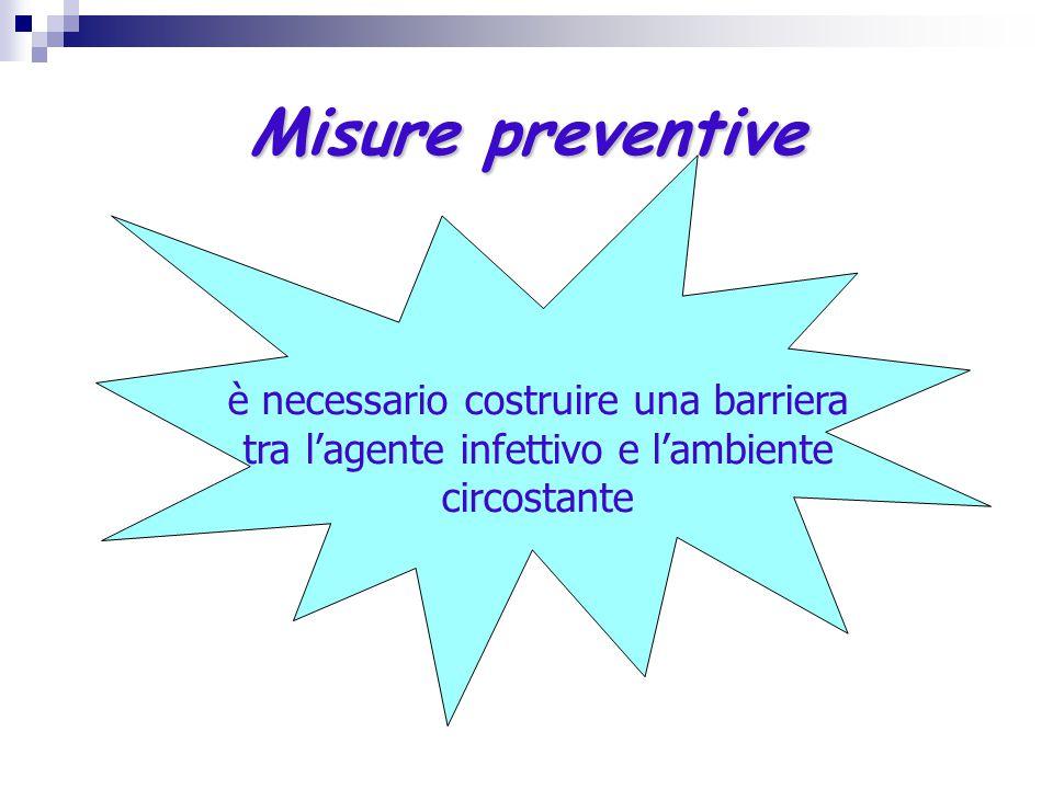 Misure preventive è necessario costruire una barriera tra l'agente infettivo e l'ambiente circostante
