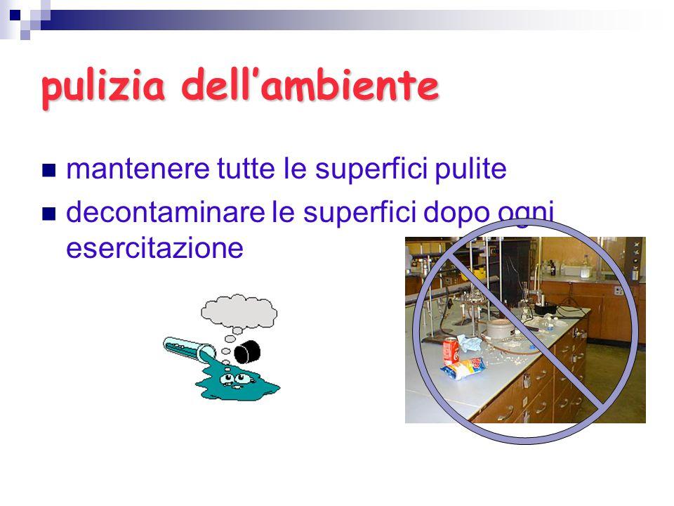 pulizia dell'ambiente mantenere tutte le superfici pulite decontaminare le superfici dopo ogni esercitazione