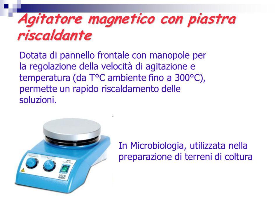 Agitatore magnetico con piastra riscaldante Dotata di pannello frontale con manopole per la regolazione della velocità di agitazione e temperatura (da