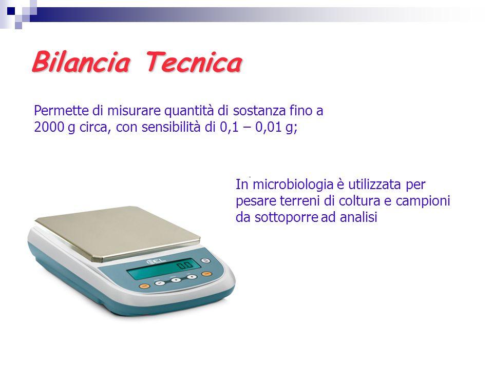Bilancia Tecnica Permette di misurare quantità di sostanza fino a 2000 g circa, con sensibilità di 0,1 – 0,01 g; In microbiologia è utilizzata per pes