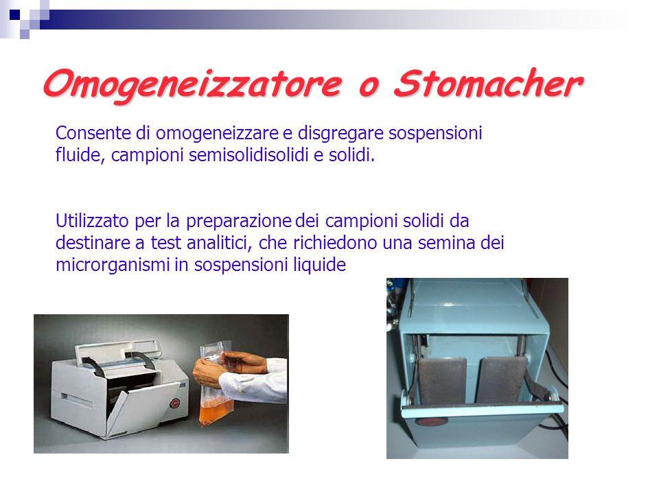 Omogeneizzatore o Stomacher Consente di omogeneizzare e disgregare sospensioni fluide, campioni semisolidisolidi e solidi. Utilizzato per la preparazi