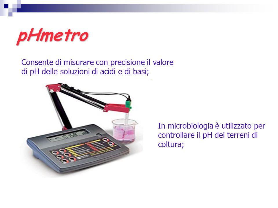 pHmetro Consente di misurare con precisione il valore di pH delle soluzioni di acidi e di basi; In microbiologia è utilizzato per controllare il pH de