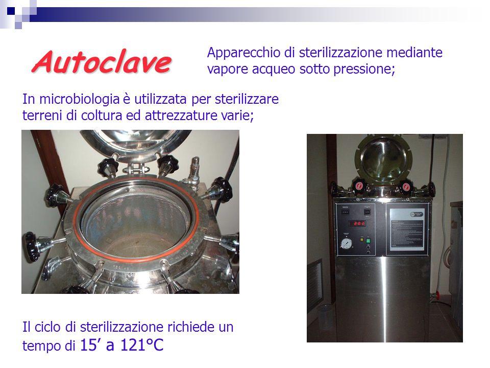 Autoclave Apparecchio di sterilizzazione mediante vapore acqueo sotto pressione; In microbiologia è utilizzata per sterilizzare terreni di coltura ed