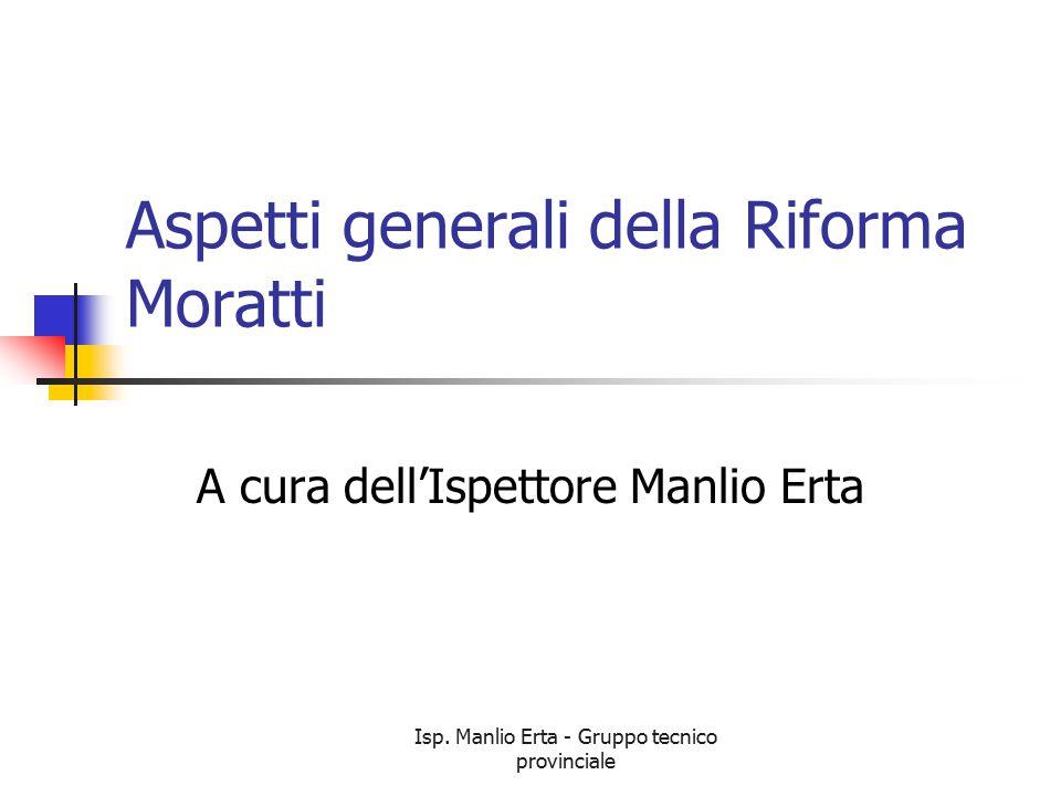 Isp. Manlio Erta - Gruppo tecnico provinciale Aspetti generali della Riforma Moratti A cura dell'Ispettore Manlio Erta