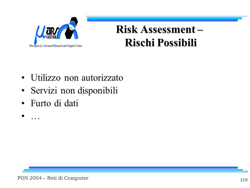 PON 2004 – Reti di Computer 119 Risk Assessment – Rischi Possibili Utilizzo non autorizzato Servizi non disponibili Furto di dati …