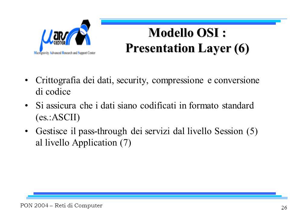 PON 2004 – Reti di Computer 26 Modello OSI : Presentation Layer (6) Crittografia dei dati, security, compressione e conversione di codice Si assicura che i dati siano codificati in formato standard (es.:ASCII) Gestisce il pass-through dei servizi dal livello Session (5) al livello Application (7)