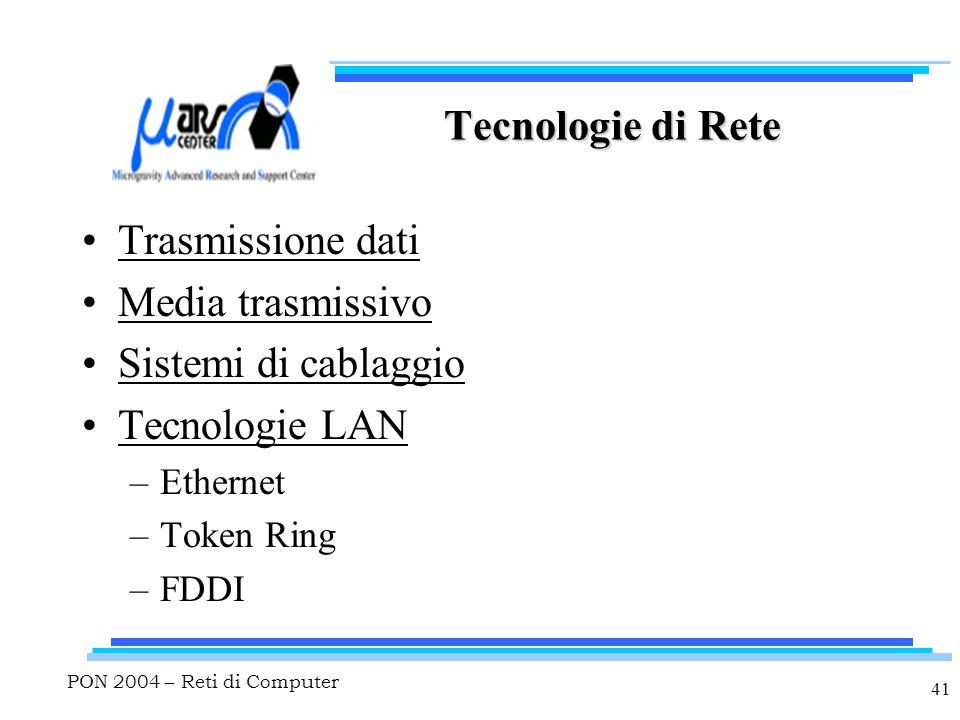 PON 2004 – Reti di Computer 41 Tecnologie di Rete Trasmissione dati Media trasmissivo Sistemi di cablaggio Tecnologie LAN –Ethernet –Token Ring –FDDI