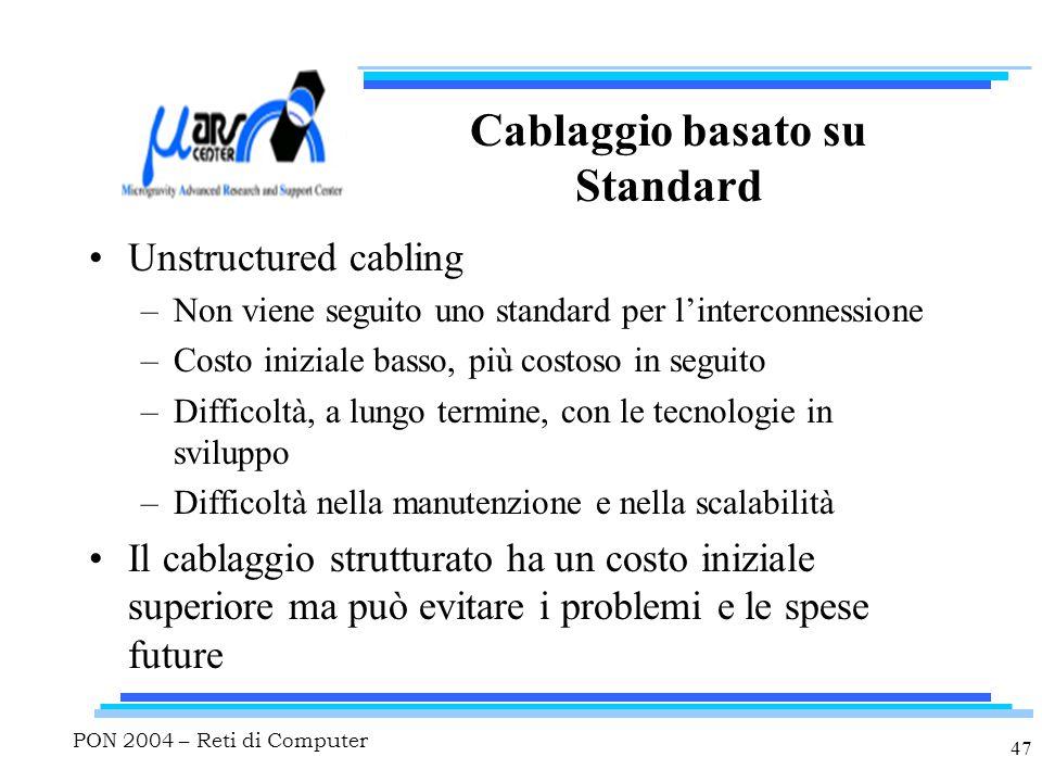 PON 2004 – Reti di Computer 47 Cablaggio basato su Standard Unstructured cabling –Non viene seguito uno standard per l'interconnessione –Costo iniziale basso, più costoso in seguito –Difficoltà, a lungo termine, con le tecnologie in sviluppo –Difficoltà nella manutenzione e nella scalabilità Il cablaggio strutturato ha un costo iniziale superiore ma può evitare i problemi e le spese future