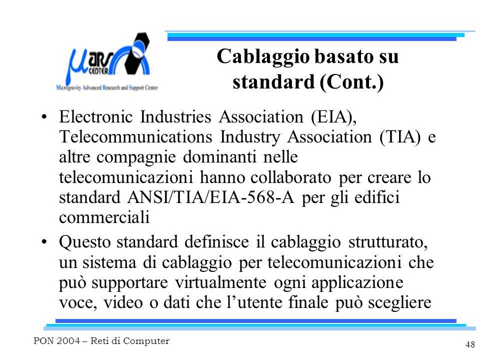PON 2004 – Reti di Computer 48 Cablaggio basato su standard (Cont.) Electronic Industries Association (EIA), Telecommunications Industry Association (