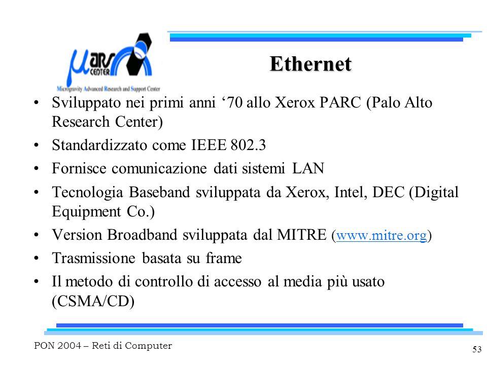 PON 2004 – Reti di Computer 53 Ethernet Sviluppato nei primi anni '70 allo Xerox PARC (Palo Alto Research Center) Standardizzato come IEEE 802.3 Fornisce comunicazione dati sistemi LAN Tecnologia Baseband sviluppata da Xerox, Intel, DEC (Digital Equipment Co.) Version Broadband sviluppata dal MITRE (www.mitre.org) Trasmissione basata su frame Il metodo di controllo di accesso al media più usato (CSMA/CD)