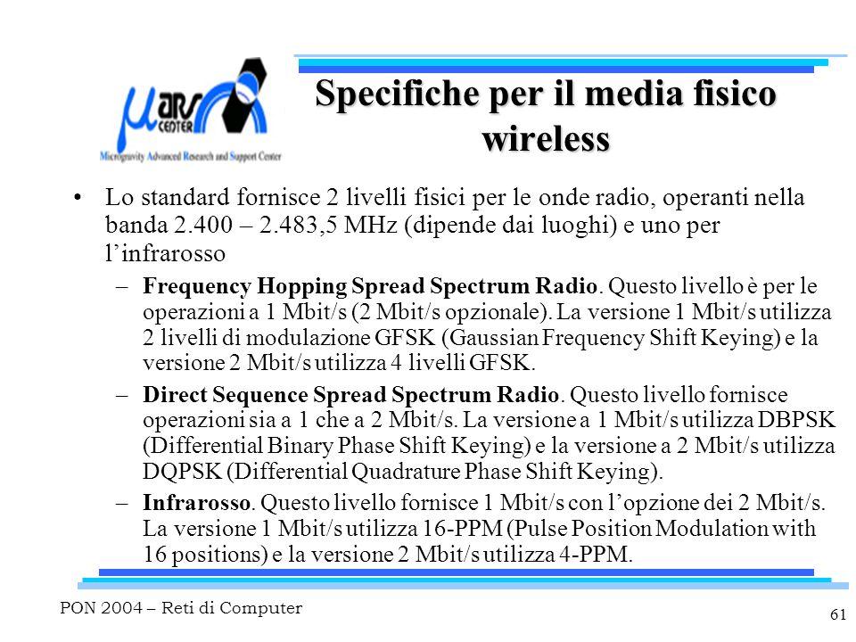 PON 2004 – Reti di Computer 61 Specifiche per il media fisico wireless Lo standard fornisce 2 livelli fisici per le onde radio, operanti nella banda 2.400 – 2.483,5 MHz (dipende dai luoghi) e uno per l'infrarosso –Frequency Hopping Spread Spectrum Radio.