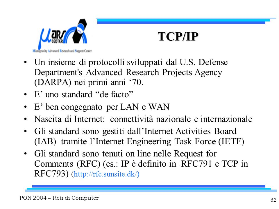 PON 2004 – Reti di Computer 62 TCP/IP Un insieme di protocolli sviluppati dal U.S. Defense Department's Advanced Research Projects Agency (DARPA) nei