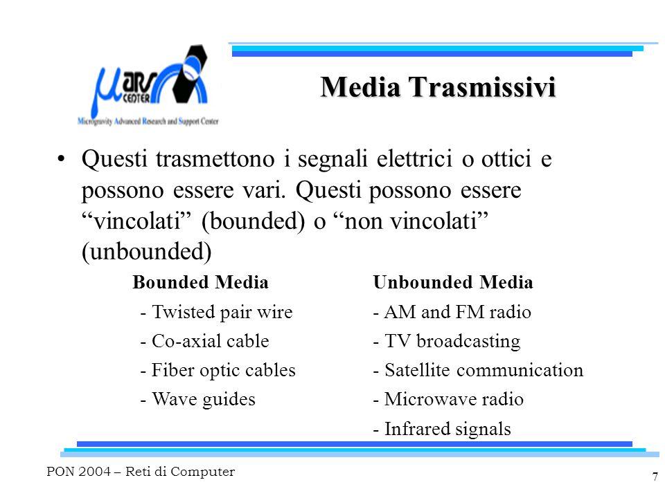 """PON 2004 – Reti di Computer 7 Media Trasmissivi Questi trasmettono i segnali elettrici o ottici e possono essere vari. Questi possono essere """"vincolat"""