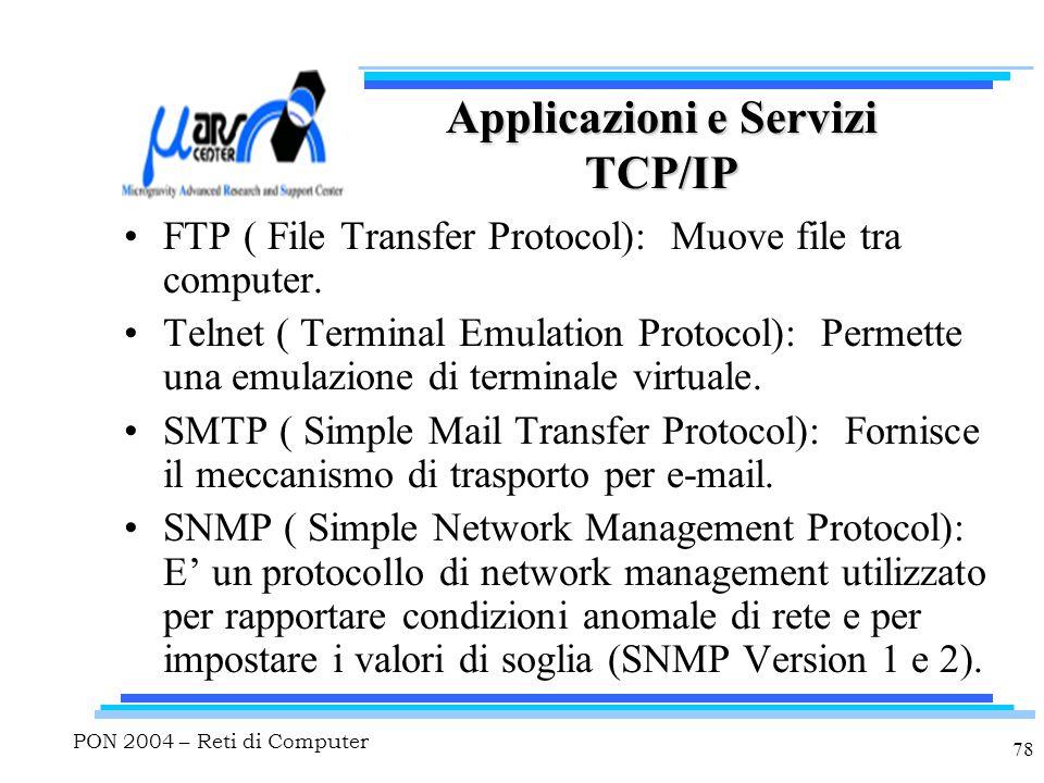 PON 2004 – Reti di Computer 78 Applicazioni e Servizi TCP/IP FTP ( File Transfer Protocol): Muove file tra computer. Telnet ( Terminal Emulation Proto