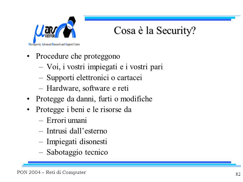 PON 2004 – Reti di Computer 82 Cosa è la Security? Procedure che proteggono –Voi, i vostri impiegati e i vostri pari –Supporti elettronici o cartacei