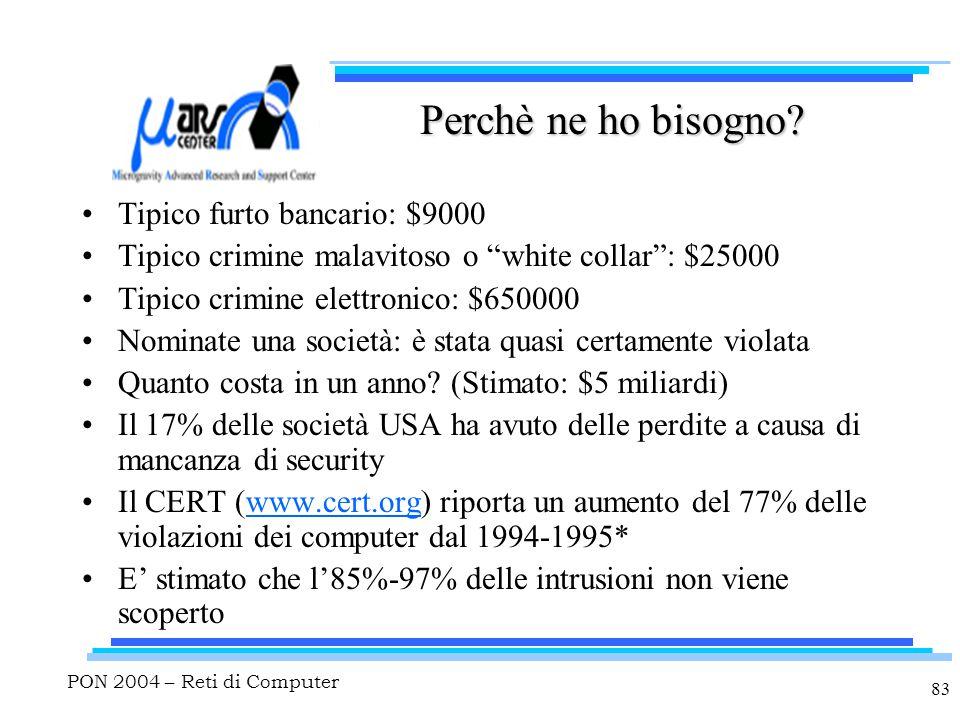 """PON 2004 – Reti di Computer 83 Perchè ne ho bisogno? Tipico furto bancario: $9000 Tipico crimine malavitoso o """"white collar"""": $25000 Tipico crimine el"""