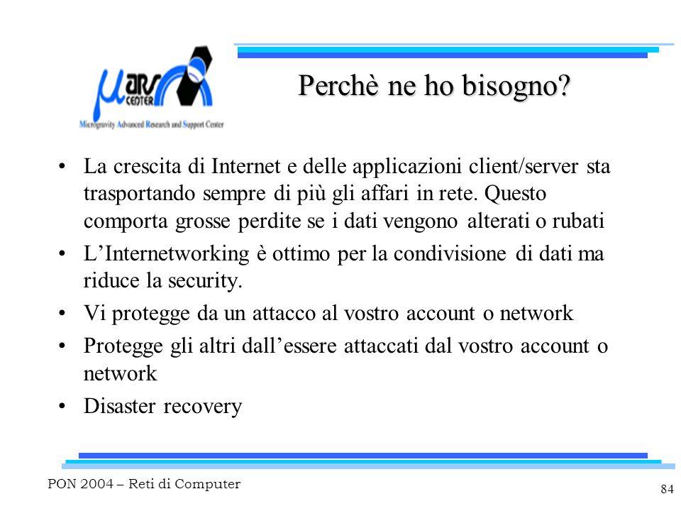 PON 2004 – Reti di Computer 84 Perchè ne ho bisogno? La crescita di Internet e delle applicazioni client/server sta trasportando sempre di più gli aff
