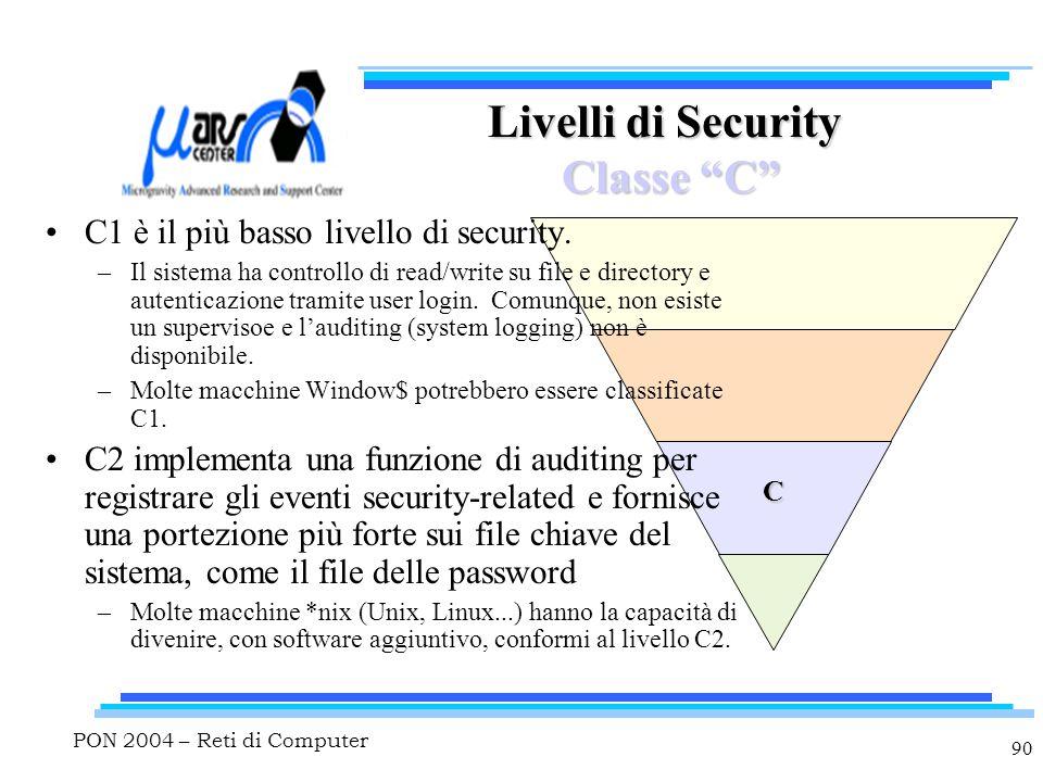 """PON 2004 – Reti di Computer 90 C Livelli di Security Classe """"C"""" C1 è il più basso livello di security. –Il sistema ha controllo di read/write su file"""
