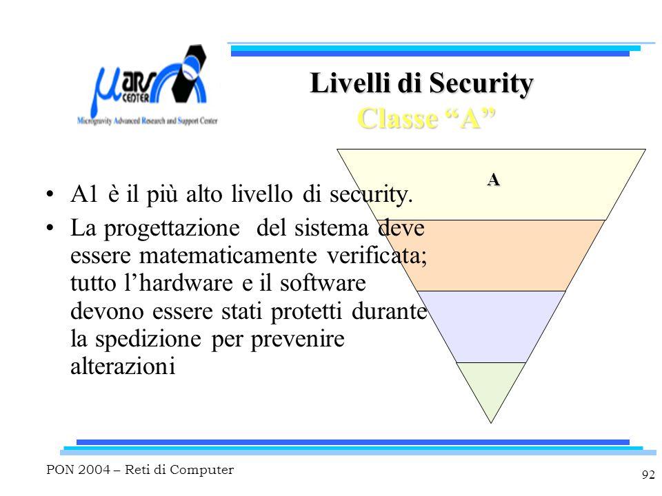 """PON 2004 – Reti di Computer 92 A Livelli di Security Classe """"A"""" A1 è il più alto livello di security. La progettazione del sistema deve essere matemat"""
