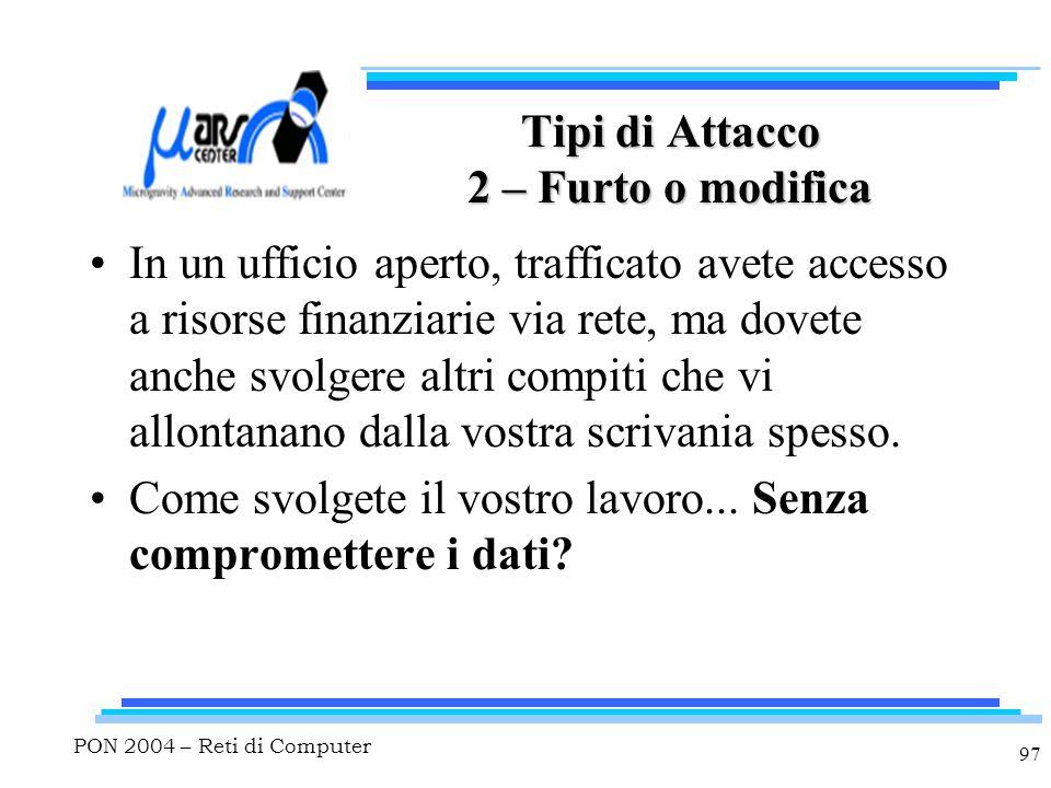 PON 2004 – Reti di Computer 97 Tipi di Attacco 2 – Furto o modifica In un ufficio aperto, trafficato avete accesso a risorse finanziarie via rete, ma