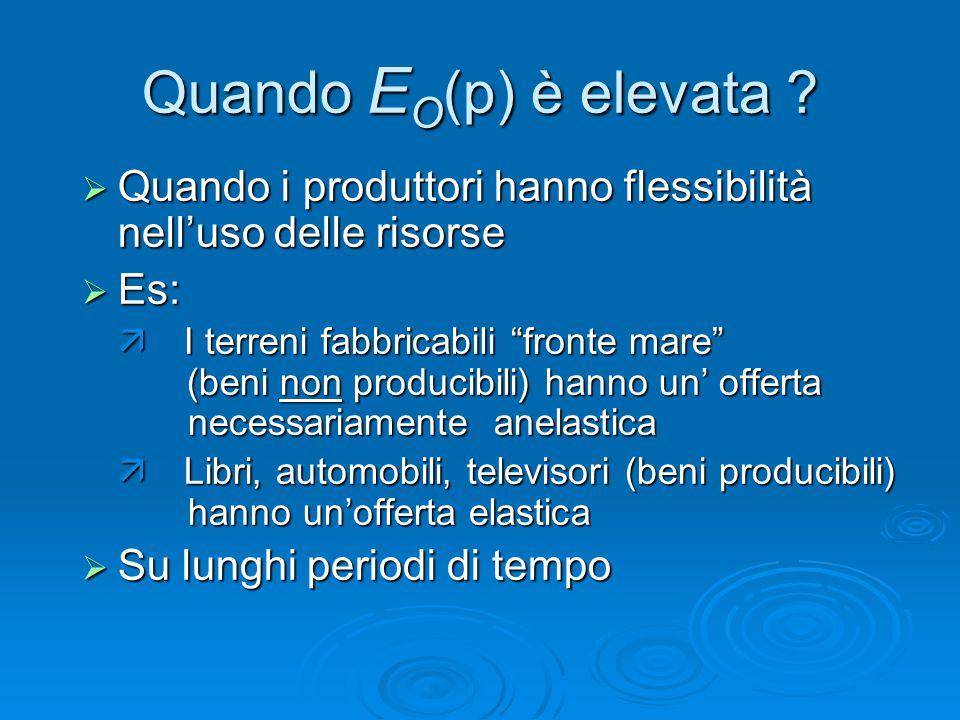 """Quando E O (p) è elevata ?  Quando i produttori hanno flessibilità nell'uso delle risorse  Es:  I terreni fabbricabili """"fronte mare"""" (beni non pro"""