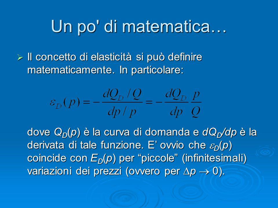 Un po' di matematica…  Il concetto di elasticità si può definire matematicamente. In particolare: dove Q D (p) è la curva di domanda e dQ D /dp è la