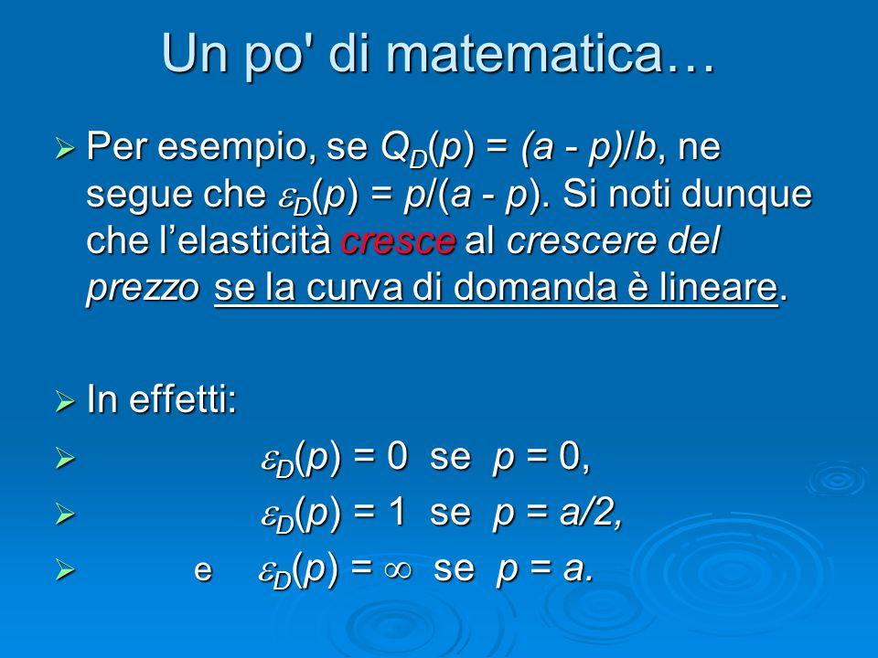 Un po' di matematica…  Per esempio, se Q D (p) = (a - p)/b, ne segue che  D (p) = p/(a - p). Si noti dunque che l'elasticità cresce al crescere del