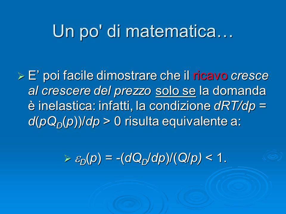 Un po' di matematica…  E' poi facile dimostrare che il ricavo cresce al crescere del prezzo solo se la domanda è inelastica: infatti, la condizione d