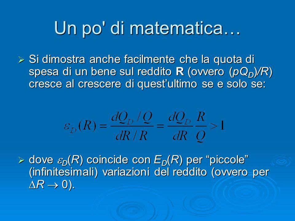 Un po' di matematica…  Si dimostra anche facilmente che la quota di spesa di un bene sul reddito R (ovvero (pQ D )/R) cresce al crescere di quest'ult
