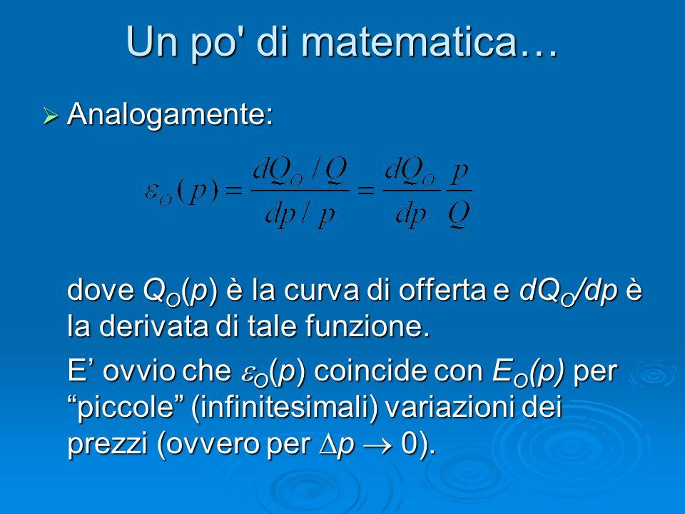 Un po' di matematica…  Analogamente: dove Q O (p) è la curva di offerta e dQ O /dp è la derivata di tale funzione. E' ovvio che  O (p) coincide con