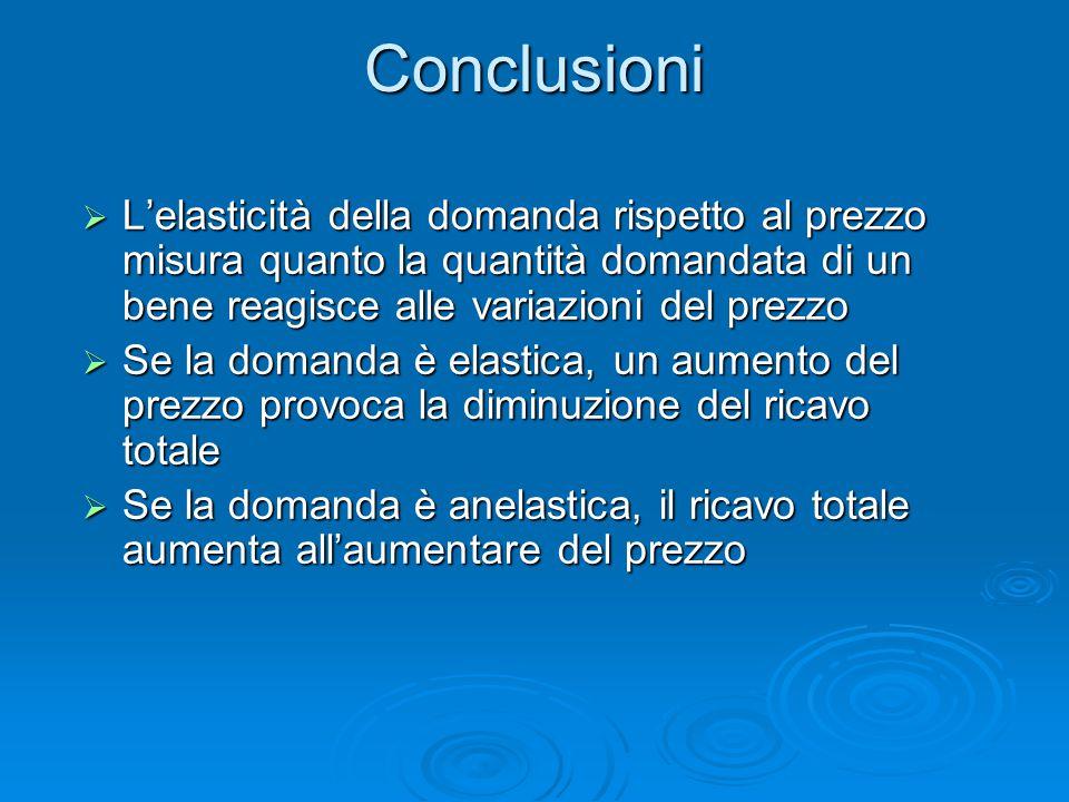 Conclusioni  L'elasticità della domanda rispetto al prezzo misura quanto la quantità domandata di un bene reagisce alle variazioni del prezzo  Se la