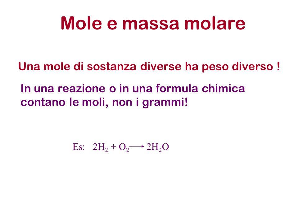 Mole e massa molare Una mole di sostanza diverse ha peso diverso ! In una reazione o in una formula chimica contano le moli, non i grammi! Es: 2H 2 +