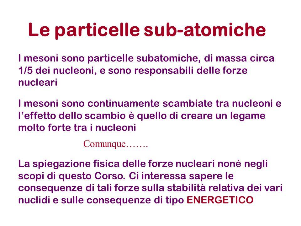 Le particelle sub-atomiche I mesoni sono particelle subatomiche, di massa circa 1/5 dei nucleoni, e sono responsabili delle forze nucleari I mesoni so