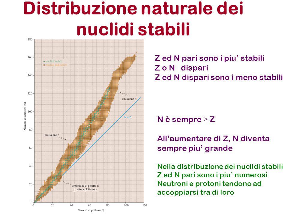 Distribuzione naturale dei nuclidi stabili Z ed N pari sono i piu' stabili Z o N dispari Z ed N dispari sono i meno stabili N è sempre  Z All'aumenta