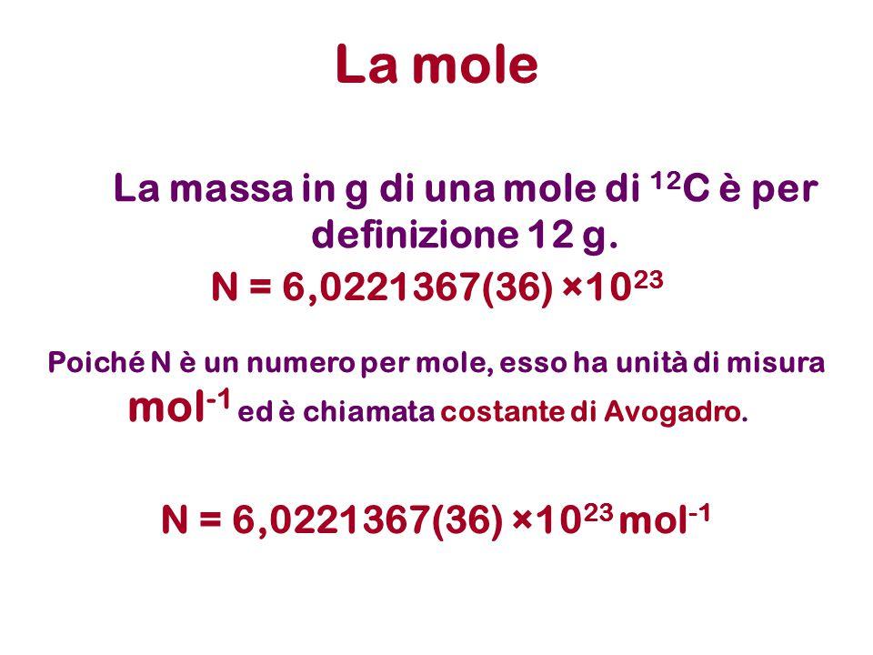 Mole e massa molare Una mole di sostanza diverse ha peso diverso .
