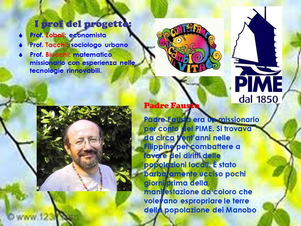 I prof del progetto:  Prof. Zoboli: economista  Prof.