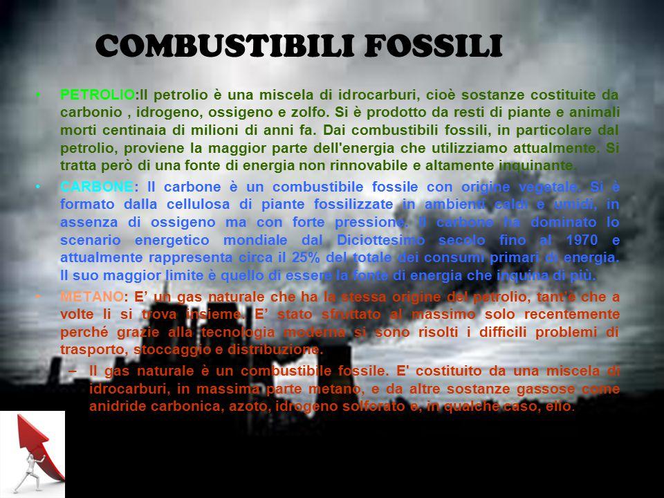 COMBUSTIBILI FOSSILI PETROLIO:Il petrolio è una miscela di idrocarburi, cioè sostanze costituite da carbonio, idrogeno, ossigeno e zolfo.