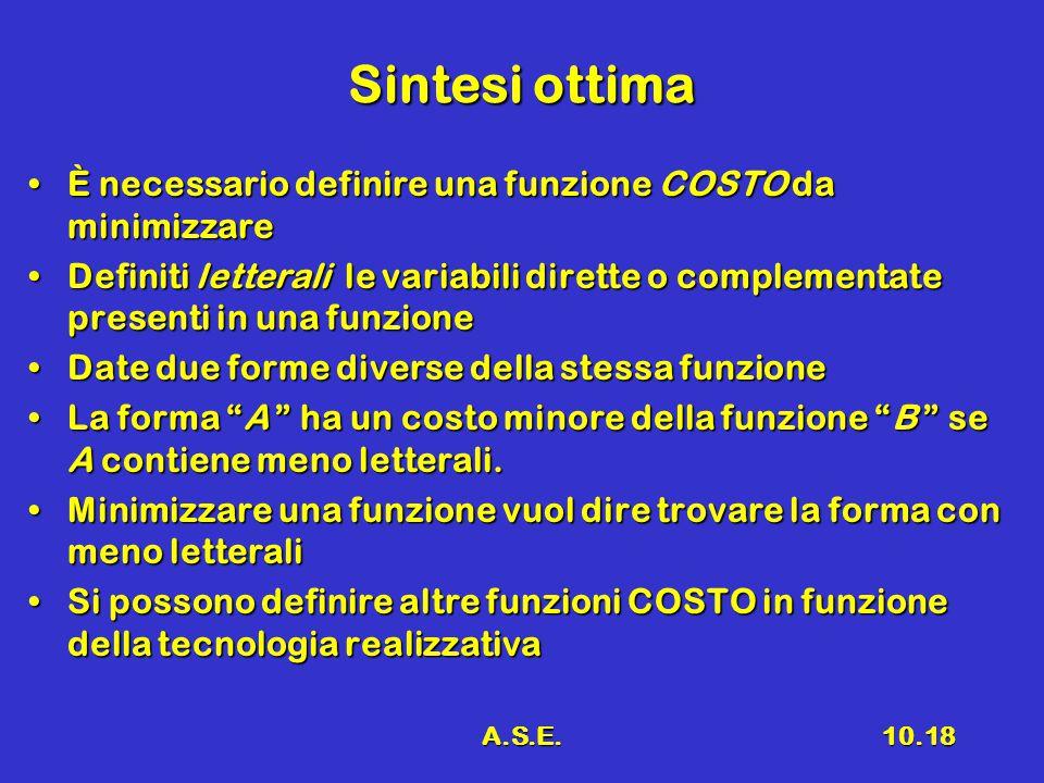 A.S.E.10.18 Sintesi ottima È necessario definire una funzione COSTO da minimizzareÈ necessario definire una funzione COSTO da minimizzare Definiti let