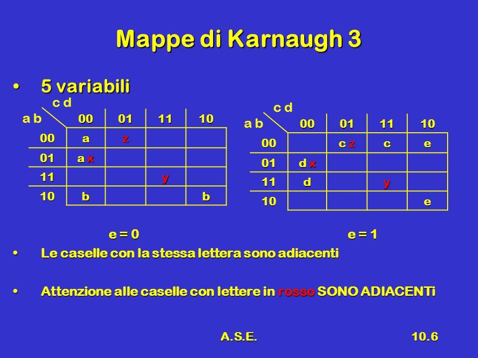 A.S.E.10.6 Mappe di Karnaugh 3 5 variabili5 variabili e = 0e = 1 e = 0e = 1 Le caselle con la stessa lettera sono adiacentiLe caselle con la stessa lettera sono adiacenti Attenzione alle caselle con lettere in rosso SONO ADIACENTiAttenzione alle caselle con lettere in rosso SONO ADIACENTi c d a b 00011110 00az 01 a x 11y 10bb c d a b0001111000 c z ce 01 d x 11dy 10e