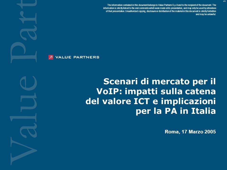 -P1 Scenari di mercato per il VoIP: impatti sulla catena del valore ICT e implicazioni per la PA in Italia Roma, 17 Marzo 2005 The information contained in this document belongs to Value Partners S.p.A and to the recipient of the document.