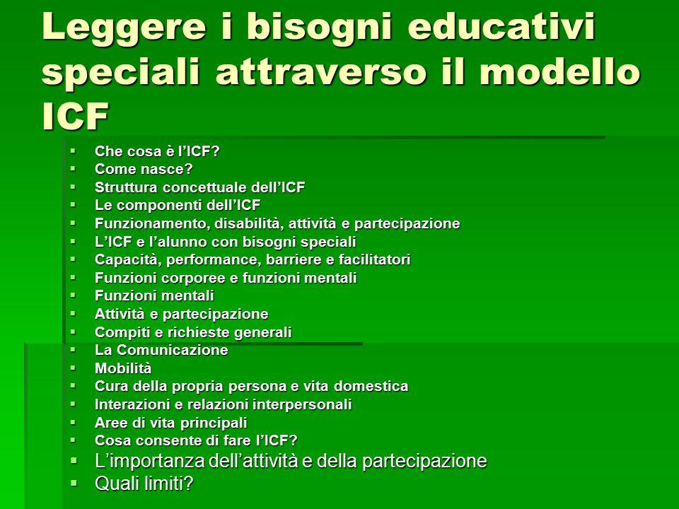 Leggere i bisogni educativi speciali attraverso il modello ICF  Che cosa è l'ICF?  Come nasce?  Struttura concettuale dell'ICF  Le componenti dell