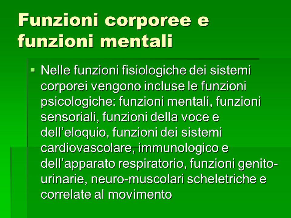 Funzioni corporee e funzioni mentali  Nelle funzioni fisiologiche dei sistemi corporei vengono incluse le funzioni psicologiche: funzioni mentali, fu