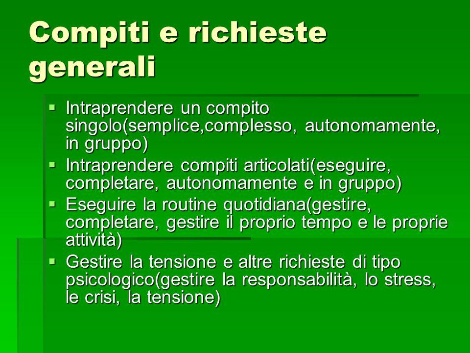 Compiti e richieste generali  Intraprendere un compito singolo(semplice,complesso, autonomamente, in gruppo)  Intraprendere compiti articolati(esegu